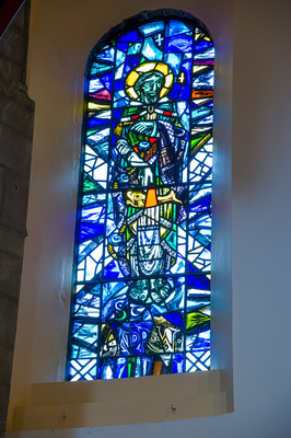 Stained glass window of St. Andrew
