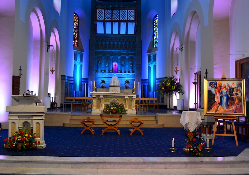 Sanctuary prepared for celebratory Mass